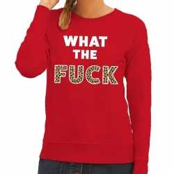 Toppers what the fuck tijger print tekst sweater rood dames