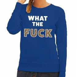 Toppers what the fuck tijger tekst sweater blauw dames