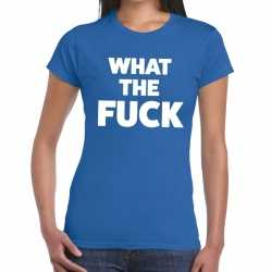 Toppers what the fucktekst t shirt blauw dames