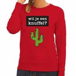 Toppers wil je een knuffel tekst sweater rood dames