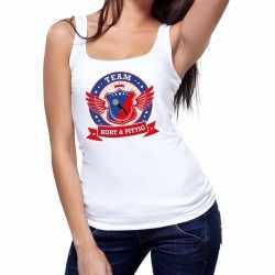 Toppers wit kort pittig team tanktop / mouwloos shirt dames