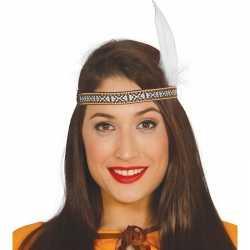 Toppers witte indianen veer verkleed accessoire