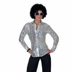 Toppers zilveren disco seventies verkleed blouse dames