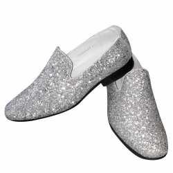 Toppers zilveren glitter disco instap schoenen heren