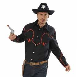 Toppers zwart cowboy shirt rode glitters