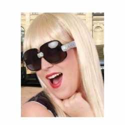 Toppers zwarte zonnebril/feestbril zilveren glitters dames
